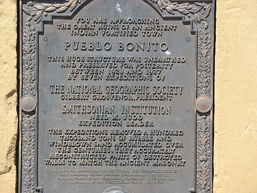 Plaque at Pueblo Bonito Commemorating Neil Judd's Work