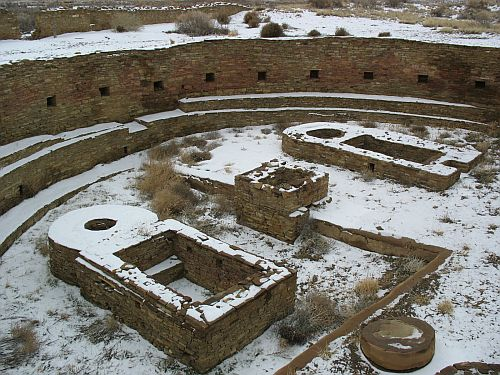 Great Kiva at Chetro Ketl in the Snow