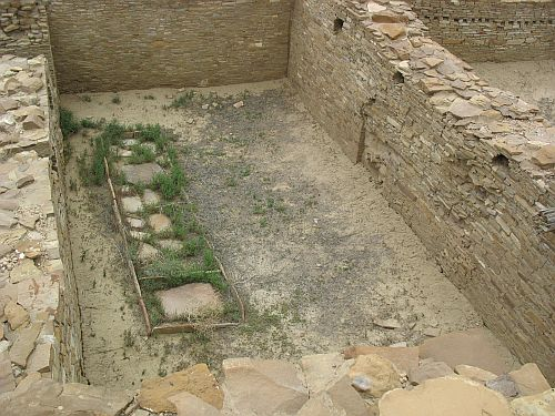 Mealing Room with Row of Metates, Pueblo del Arroyo