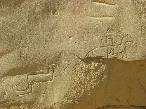 Navajo Petroglyph of a Horse and Rider