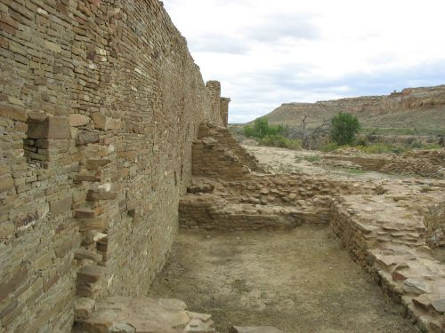 West Wall of Pueblo del Arroyo Showing Addition Associated with Tri-Wall Structure