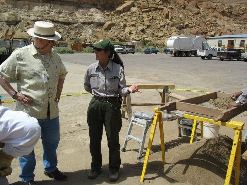 Park Archaeologist Dabney Ford Talks to UNM Professor David Stuart at the Lift Station Site