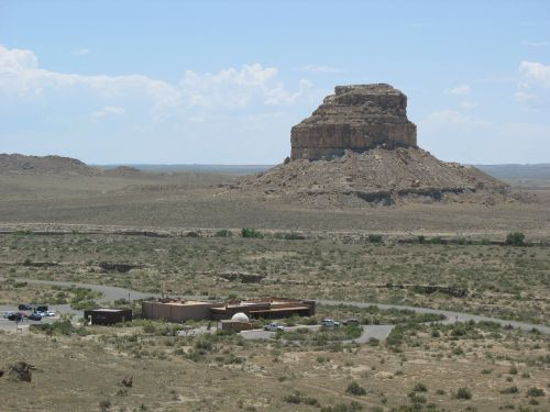 Visitor Center and Fajada Butte from Una Vida Petroglyphs