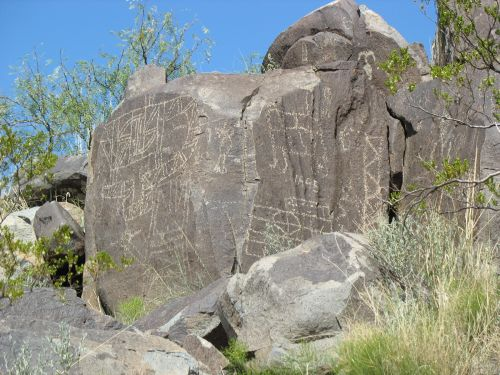 Rock Covered in Petroglyphs at Three Rivers Petroglyph Site