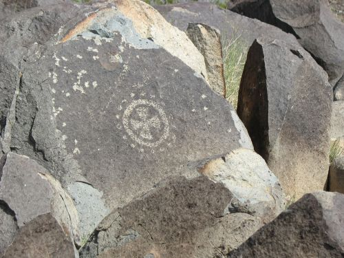 Highly Elaborated Quartered Circle at Three Rivers Petroglyph Site