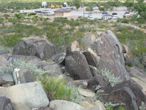 Three Rivers Petroglyph Site Parking Lot from Ridge