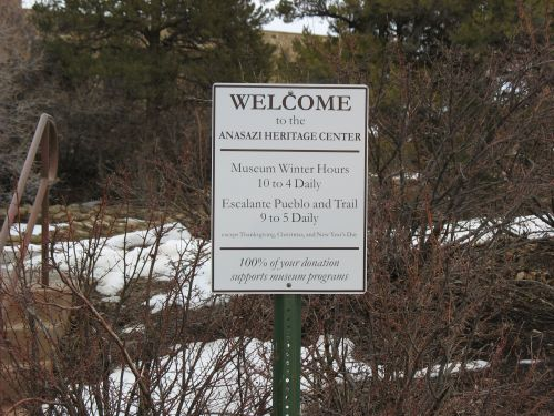 Welcome Sign at Anasazi Heritage Center, Dolores, Colorado