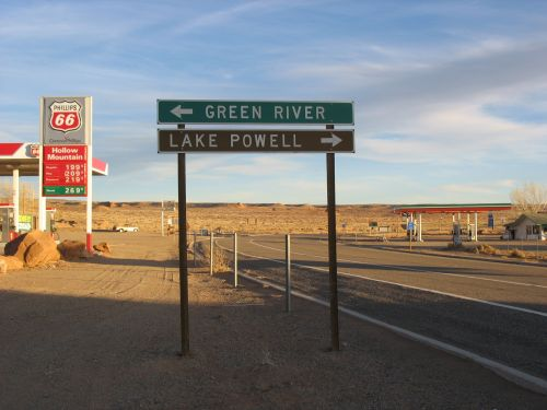 Signs Pointing to Green River and Lake Powell, Hanksville, Utah