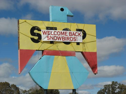 """Welcome Back Snowbirds"" Sign, Pie Town, New Mexico"