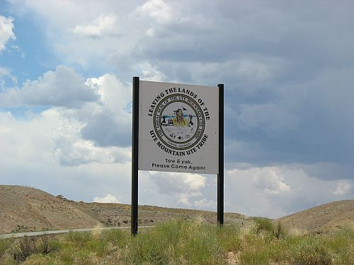 Sign at Border of Ute Mountain Indian Reservation